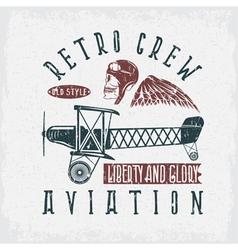 Retro aviation grunge design with skullairplane vector