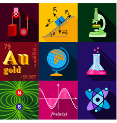 science icons set flat style vector image