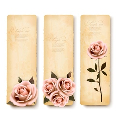 Three retro holiday banners with pink roses vector