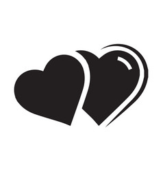 Twins heart icon black color vector