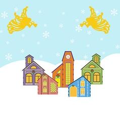 Winter village icon vector