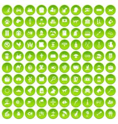 100 pets icons set green circle vector