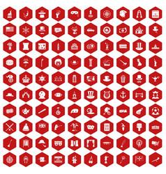 100 top hat icons hexagon red vector