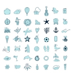 Summer beach hand drawn symbols and objects vector