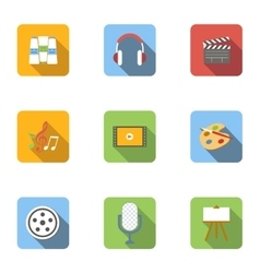 Types of art icons set flat style vector image
