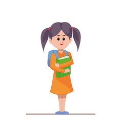 Schoolgirl with backpack and books in hands girl vector