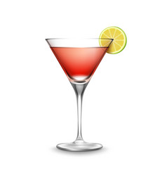 Glass of cosmopolitan cocktail vector