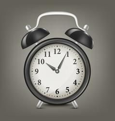 Realistic black retro alarm clock design vector
