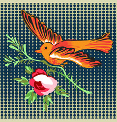 Hand drawn bird flying with flower roses tropical vector