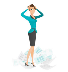stressed business woman having lots of work to do vector image