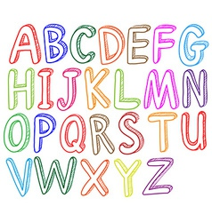 Colorful font styles of the alphabet vector image