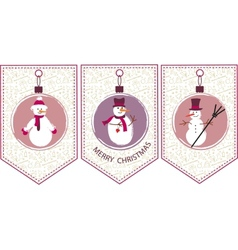 Three decoration christmas balls with snowmen vector