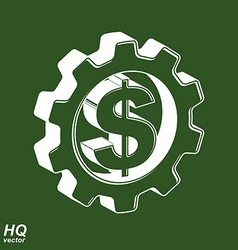 3d gear and green dollar symbol business and vector