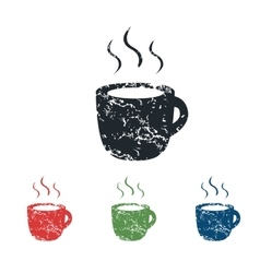 Hot drink grunge icon set vector