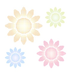 Set of halftone sun shapes vector