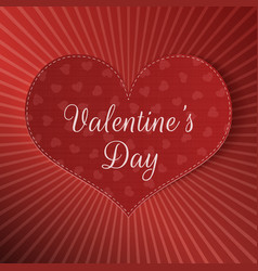 Big realistic valentines day heart banner vector