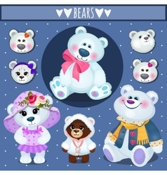 Set of white Teddy bears big family vector image