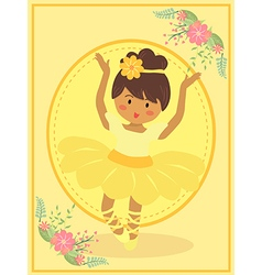 Cute yellow ballerina girl vector