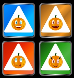 Four signs of pumpkins vector