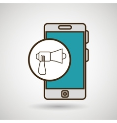 Smartphone blue megaphone isolated icon design vector