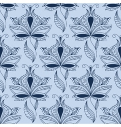 Airy lace indian blue floral seamless pattern vector