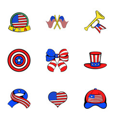 American emblem icons set cartoon style vector