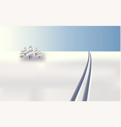 Background landscape skiing in snow vector