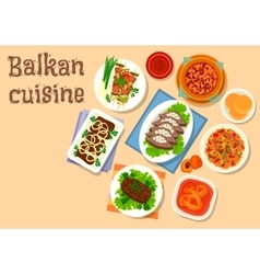 Balkan cuisine meat and vegetable dishes icon vector