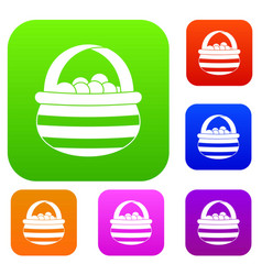 Basket with cranberries set collection vector