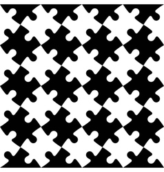 Black and white jigsaw puzzle mosaic seamless vector image