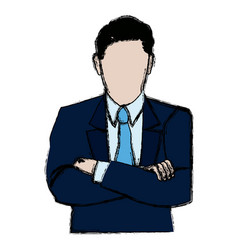 Business man portrait character wear suit and tie vector