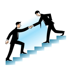 Businessman helping to go up vector