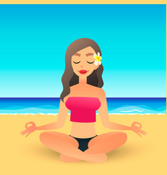 Cartoon young beautiful girl on beach practicing vector