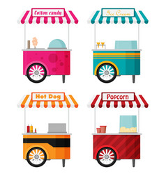 carts set retail kiosk on wheels flat vector image