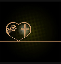 Dark green design with heart and cross vector