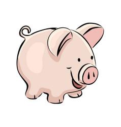 hand drawn piggy bank vector image vector image