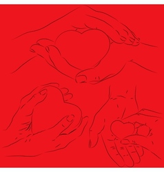 Hands with a heart vector image