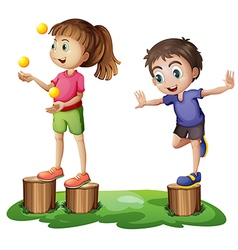 Kids playing above the stumps vector image