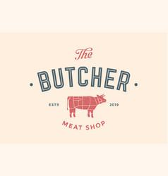 Label of butchery meat shop vector