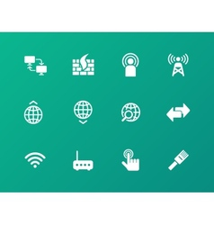 Networking icons on green background vector image
