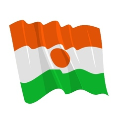 political waving flag of niger vector image vector image