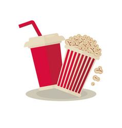 popcorn carton bowl and soda takeaway on white vector image