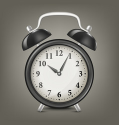 Realistic black retro alarm clock design vector