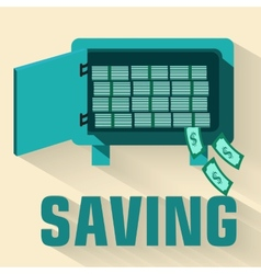 Retro flat saving icon concept design vector