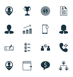 Set of 16 management icons includes bank payment vector