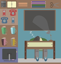Sleeping person at work and some office things vector