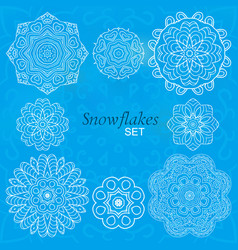 snowflakes set round decorative ornaments for vector image