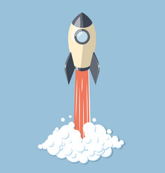 Started 3d rocket spaceship isolated on blue vector