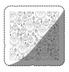 Sticker monochrome pattern of caricature bird vector