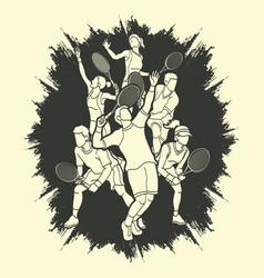 Tennis players men and women action vector